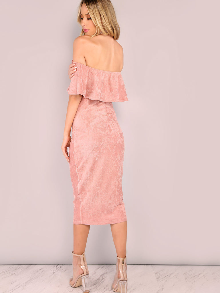 Pink Faux Suede Off The Shoulder Ruffle Dress