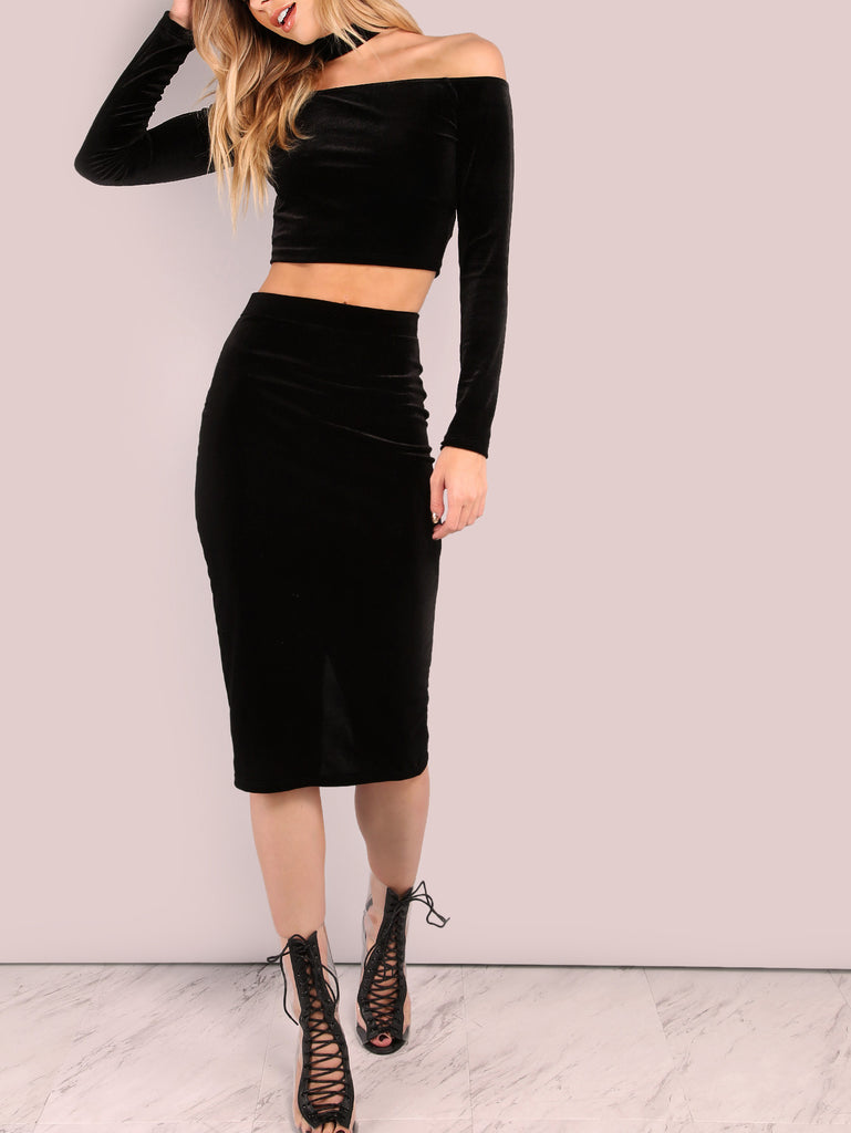 RZX Velvet Pencil Skirt BLACK