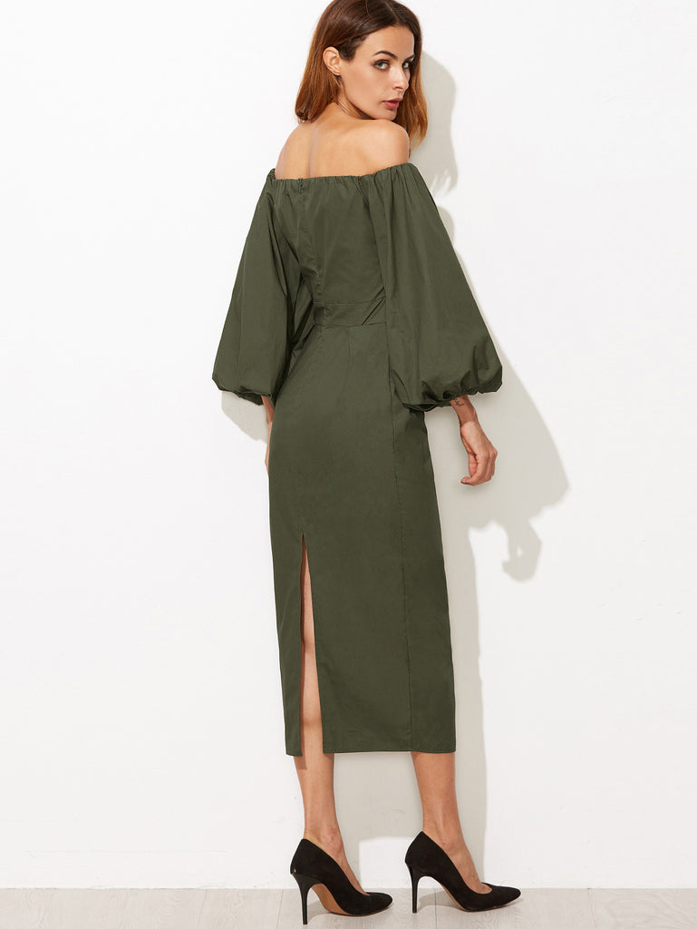 Olive Green Off The Shoulder Lantern Sleeve Slit Back Pencil Dress RZX