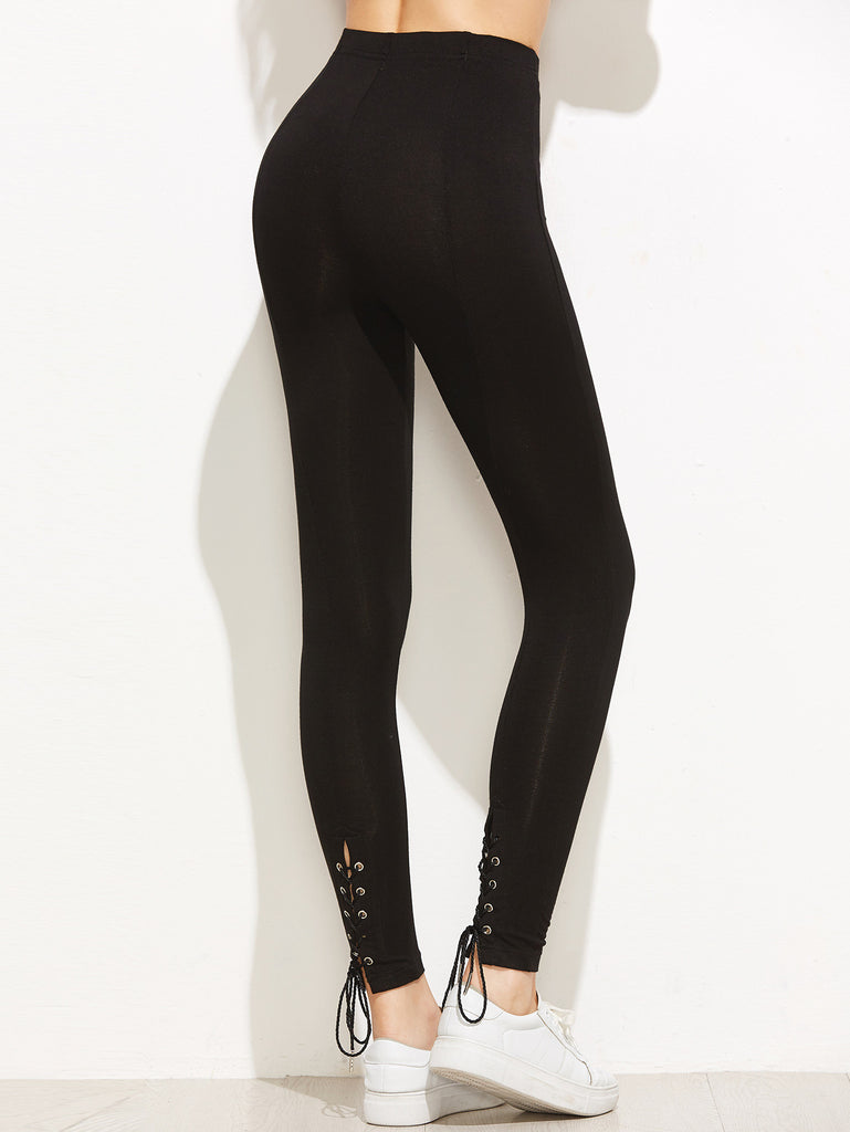 RZX Black Eyelet Lace Up Back Leggings