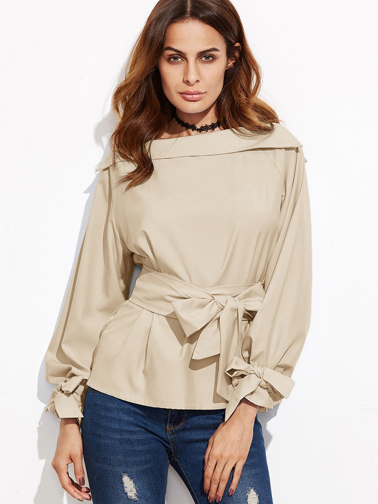 Foldover Boat Neck Belted Waist And Cuff Blouse