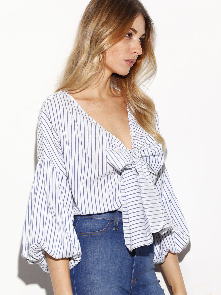RZX White Vertical Striped Bow Tie Front Lantern Sleeve Blouse