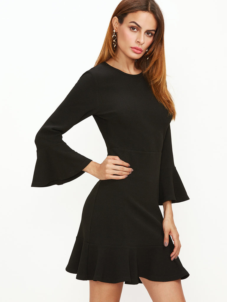 RZX Black Bell Sleeve Ruffle Hem Dress