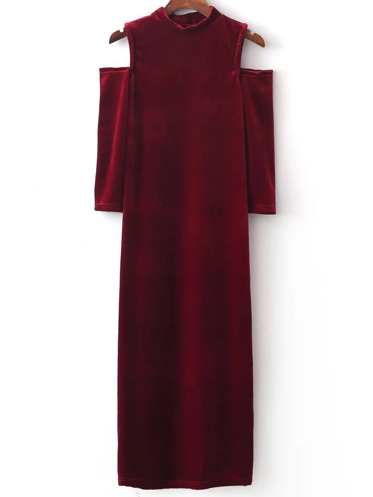 RZX Red Open Shoulder Maxi Velvet Dress