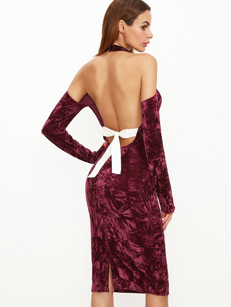 RZX  Burgundy Halter Cold Shoulder Bow Tie Open Back Velvet Dress
