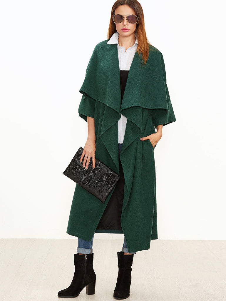 Green Oversized Drape Collar Kimono Sleeve Duster Coat RZX