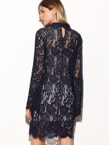 RZX Navy Keyhole Back Floral Lace Dress With Contrast Cami Top