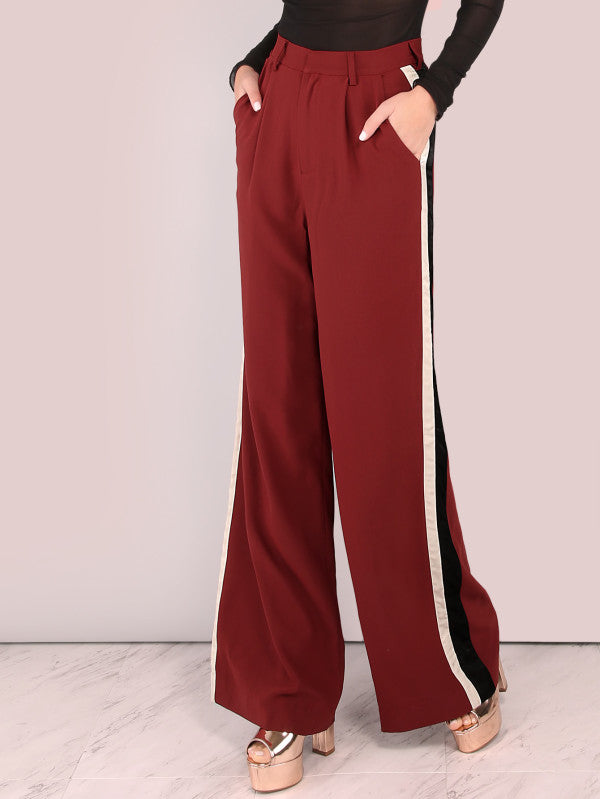 Tailored Colorblock Lined Wide Leg Pants Brick