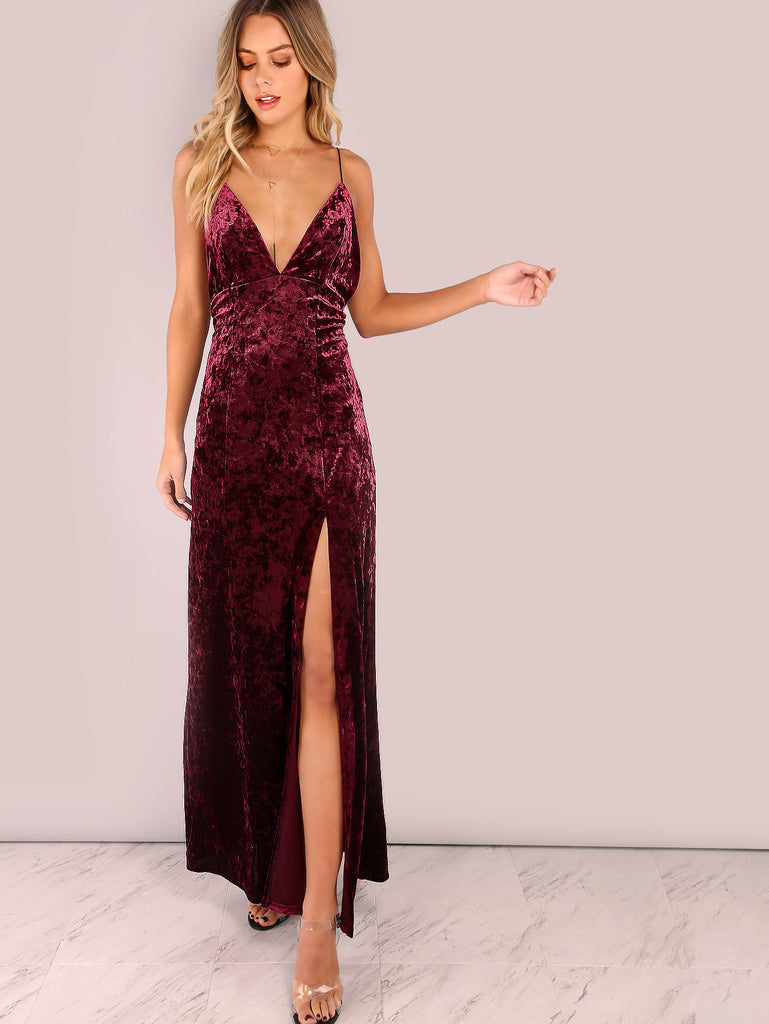 Backless Cross Back Cord Strap Crushed Velvet Split Maxi Dress BURGUNDY
