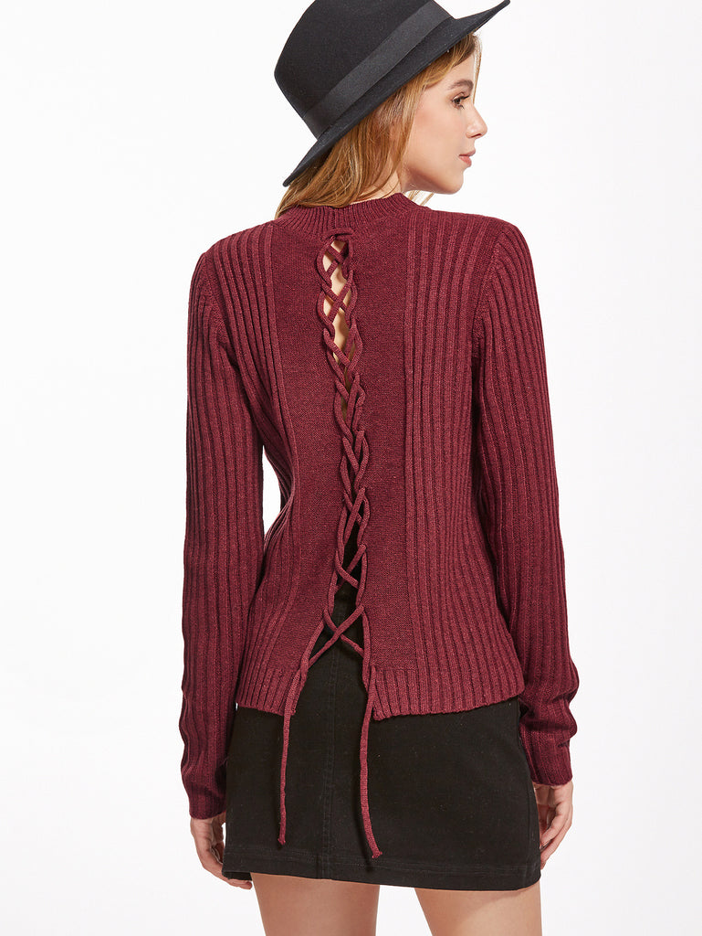 Burgundy Ribbed Lace Up Back Sweater RZX