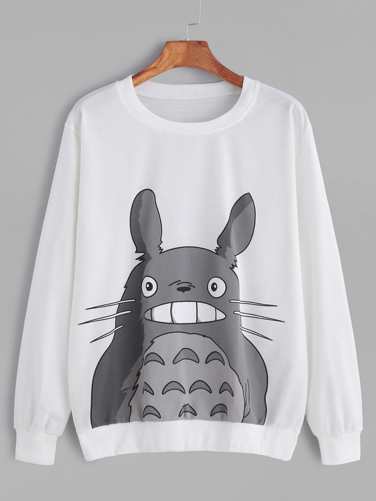 RZX White Cartoon Print Long Sleeve Sweatshirt