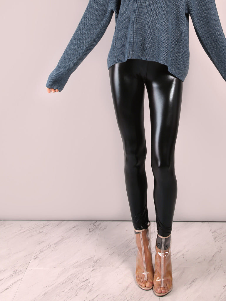 Black Crop Coated Leggings RZX
