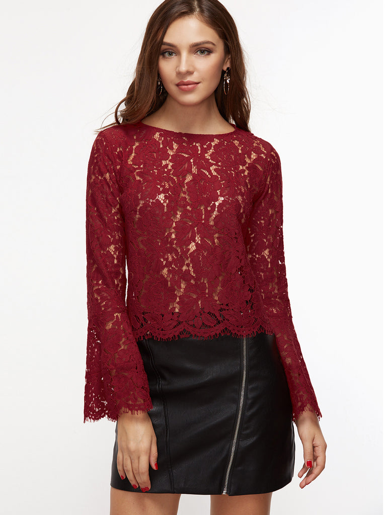 RZX Burgundy Bell Sleeve Scallop Hem Floral Lace Top