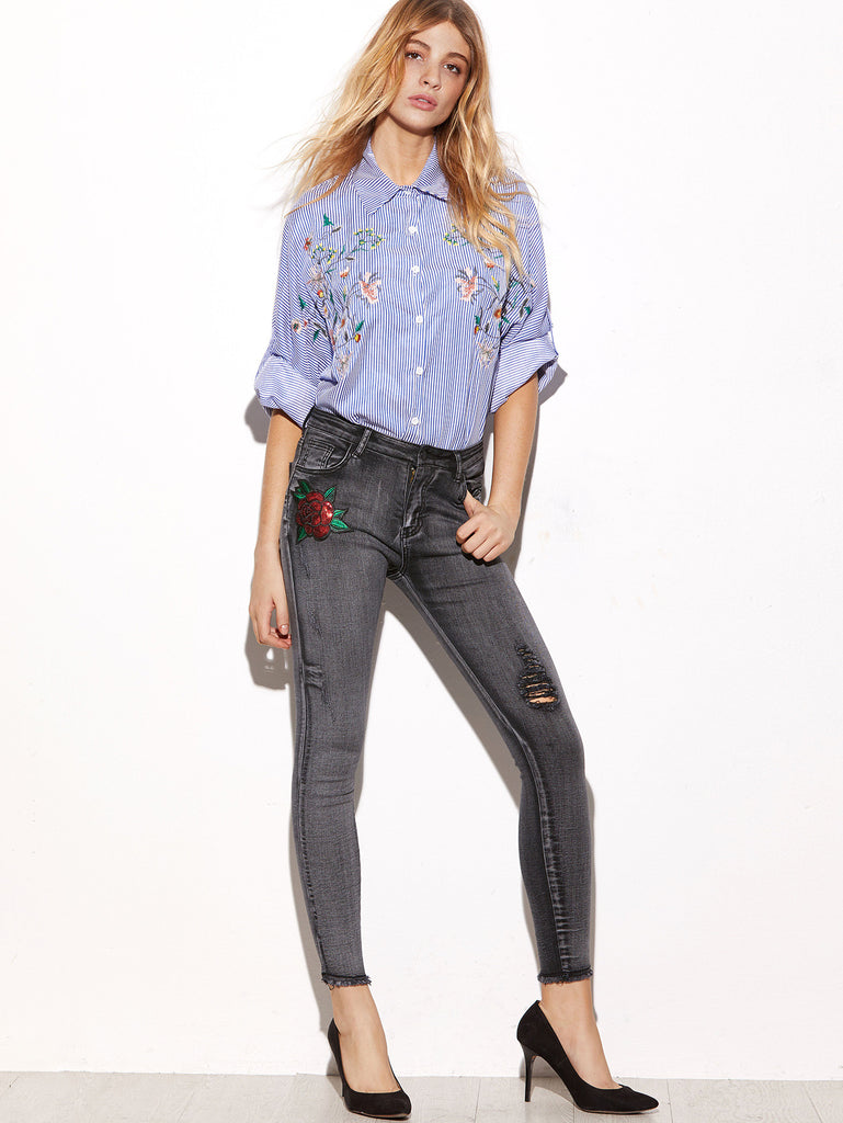 RZX Grey Sequin Rose Embellished Ripped Skinny Jeans