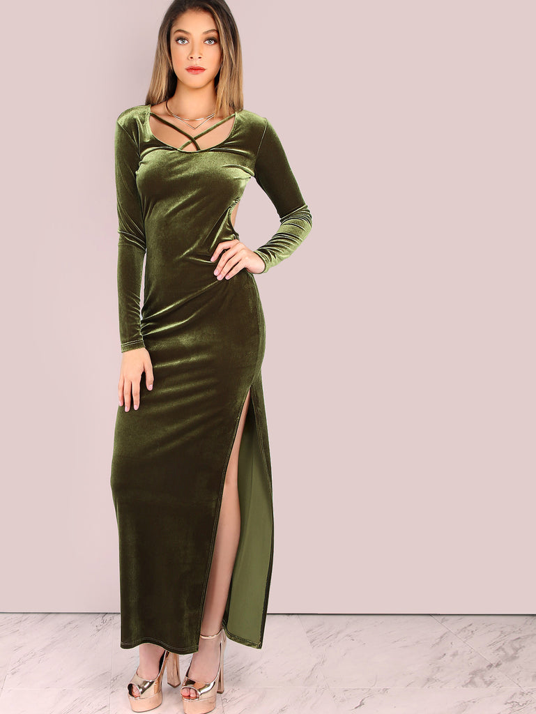 Sleeved Backless Maxi Slit Velvet Dress OLIVE