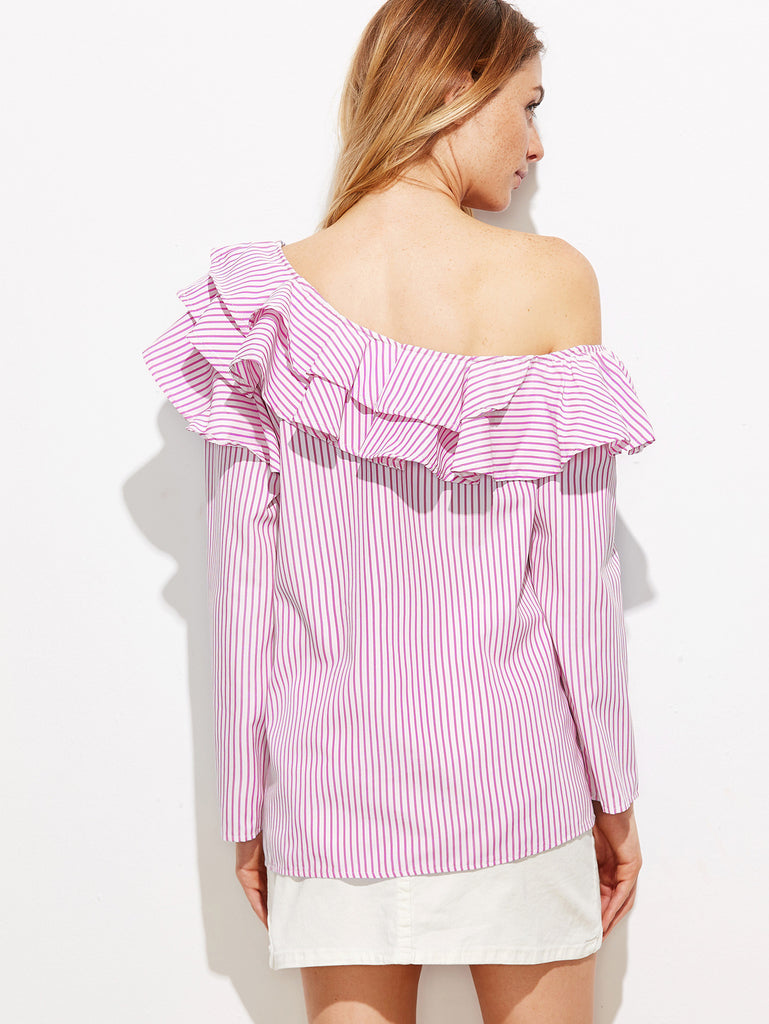 RZX Pink Vertical Striped One Shoulder Ruffle Trim Top