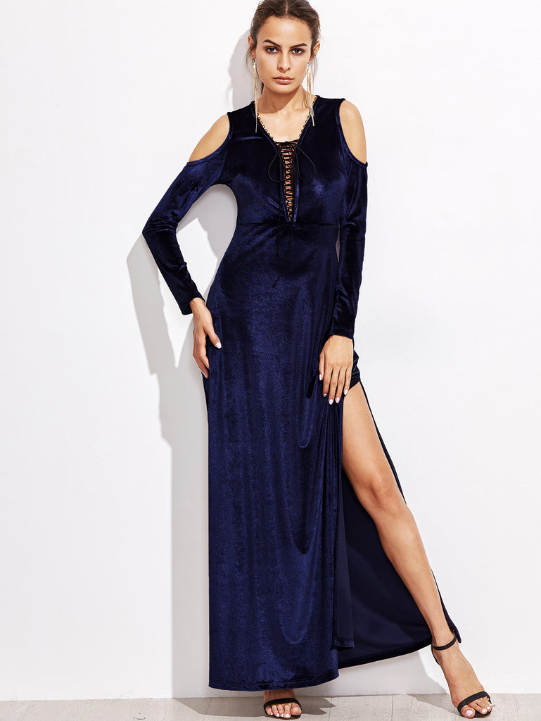 RZX Navy Cold Shoulder Lace Up Front Slit Velvet Dress