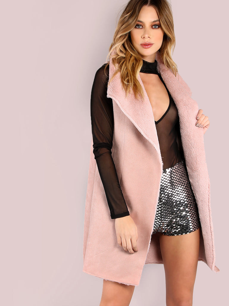 Pink Faux Shearling Oversized Drape Collar Vest RZX