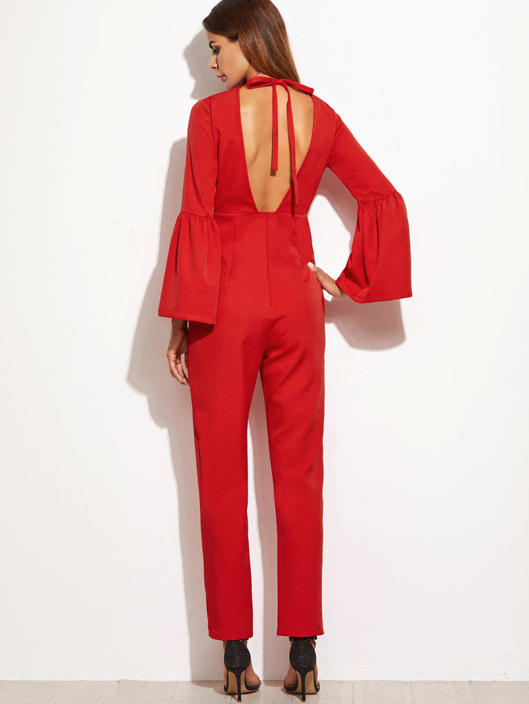 RZX  Red Bell Cuff Tied Open Back Jumpsuit