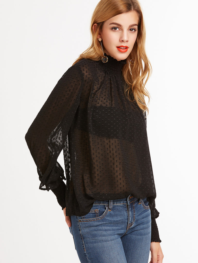 Black Sheer Dotted Blouse With Smocked Detail