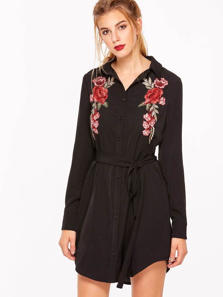 RZX Black Floral Embroidered Curved Hem Belted Shirt Dress
