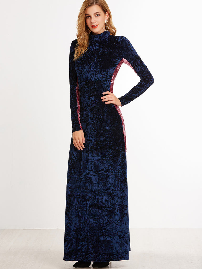 RZX  Navy Contrast Panel Mock Neck Crushed Velvet Maxi Dress