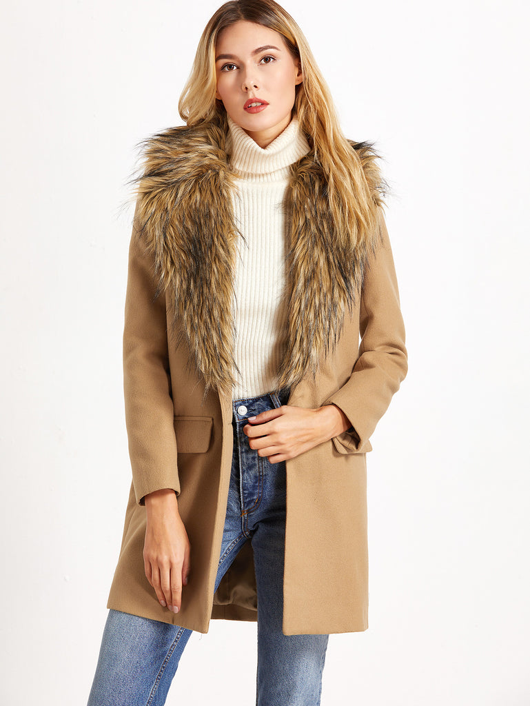 Camel Faux Fur Collar Single Breasted Coat RZX