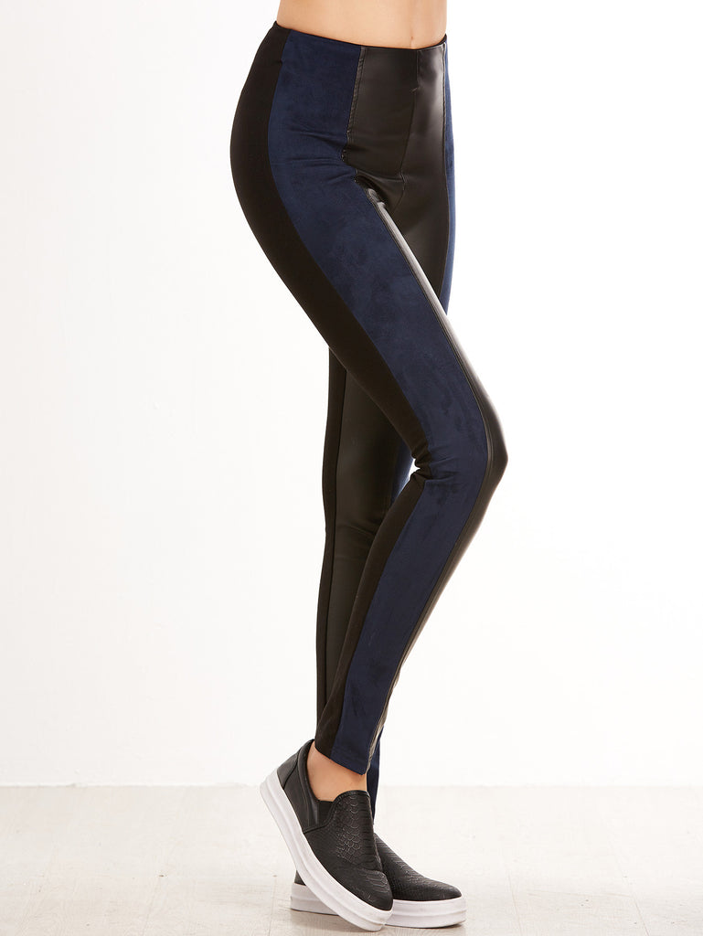 Black Contrast Panel Mixed Media Leggings
