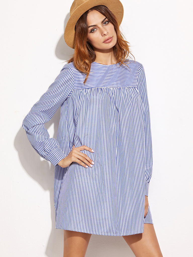 RZX Blue Striped Tie Back Shift Shirt Dress