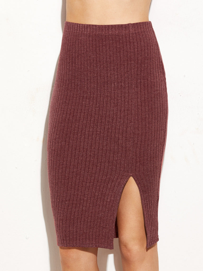 RZX Burgundy Split Front Ribbed Pencil Skirt