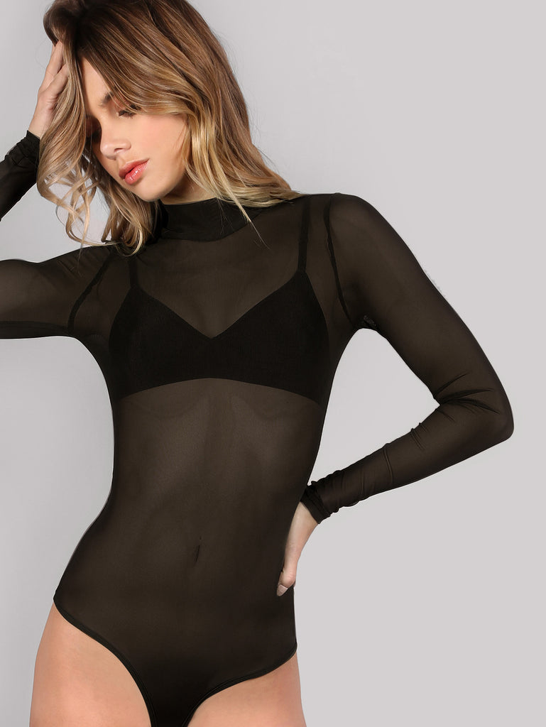 RZX Mock Neck Long Sleeve Mesh Bodysuit BLACK
