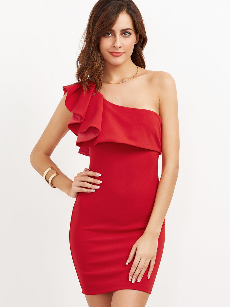 RZX Red Ruffle One Shoulder Bodycon Dress