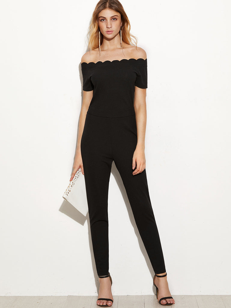 Black Scallop Off The Shoulder Peg Jumpsuit RZX