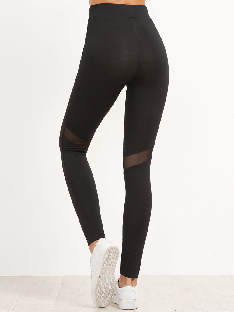 Black High Waist Leggings With Mesh Panel Detail