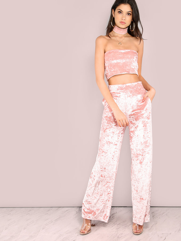 Pink Velvet Bandeau Top With Pants
