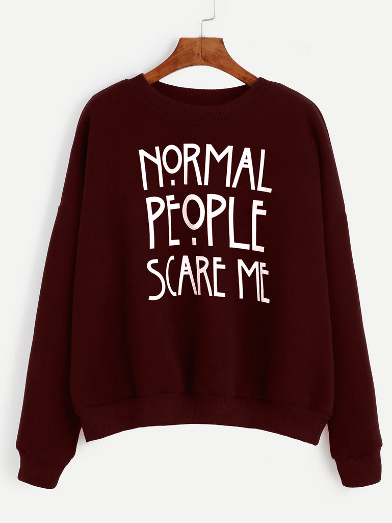Burgundy Slogan Print Drop Shoulder Sweatshirt rzx