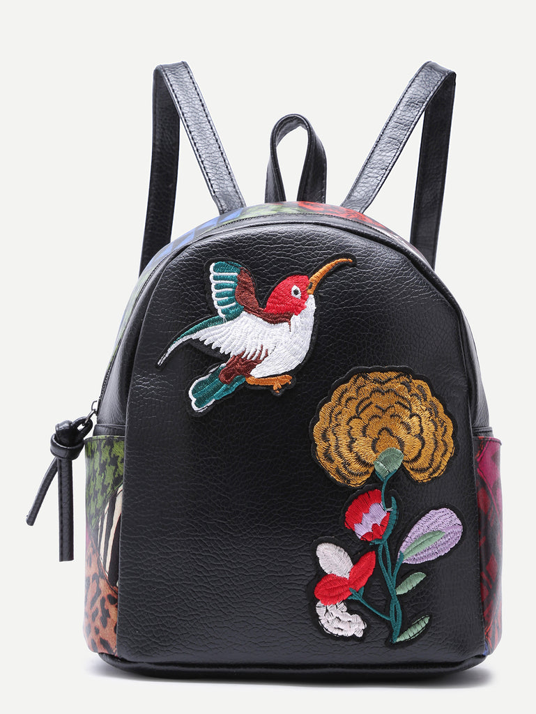 RZX  Black Sparrow and Chrysanthemum Embroidered PU Backpack