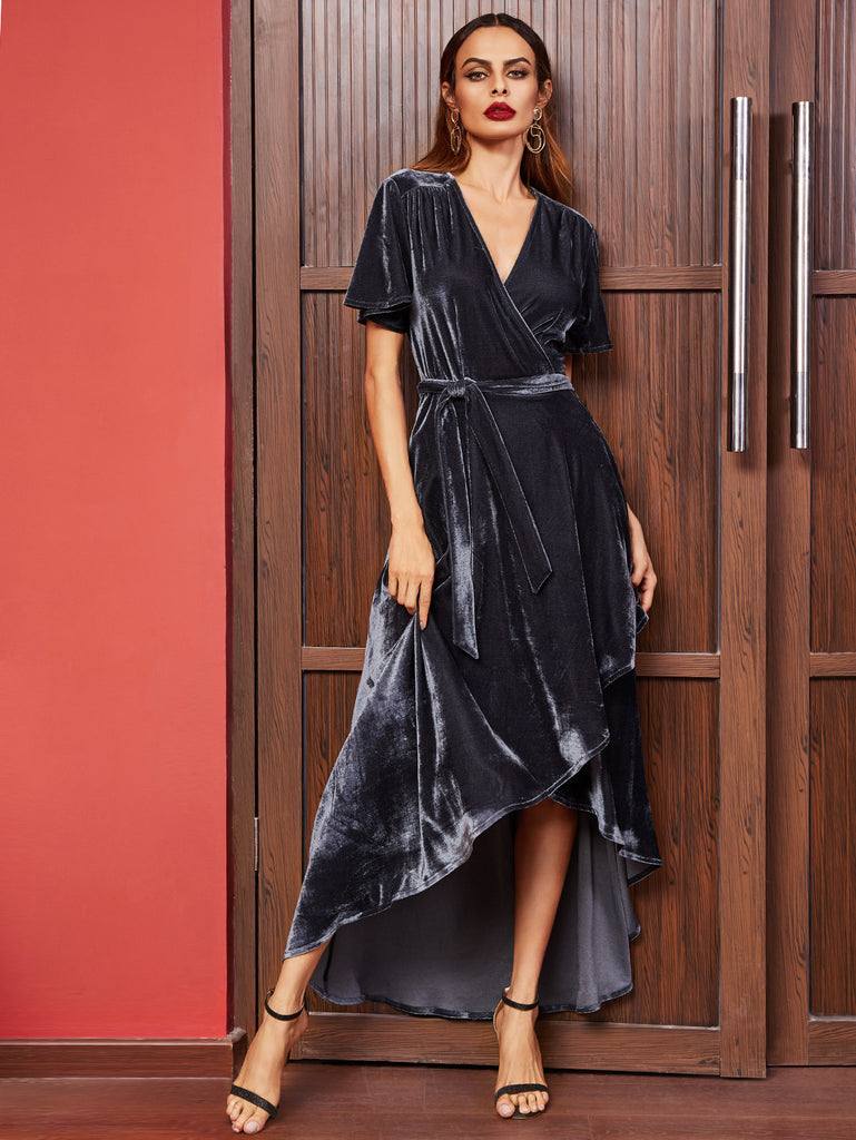RZX Navy Surplice Wrap High Low Velvet Dress