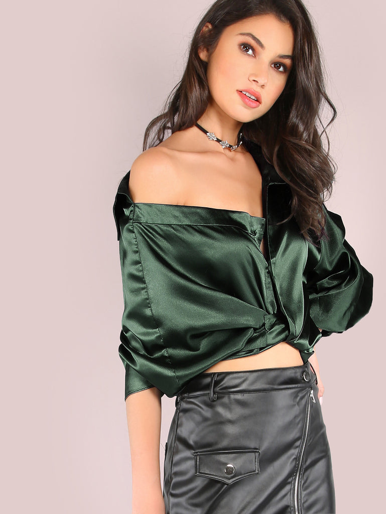 Striped One Shoulder Wrap Around Button Down Top GREEN