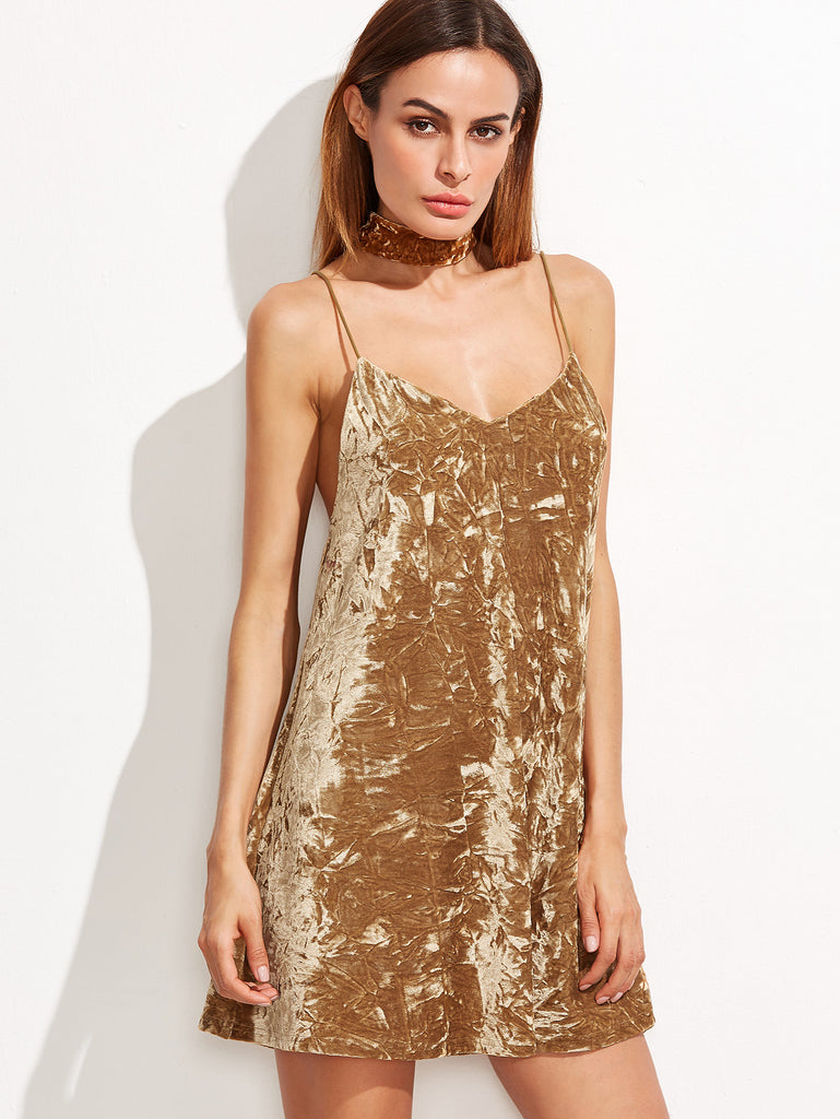 RZX Mustard Crushed Velvet Cami Dress With Neck Tie