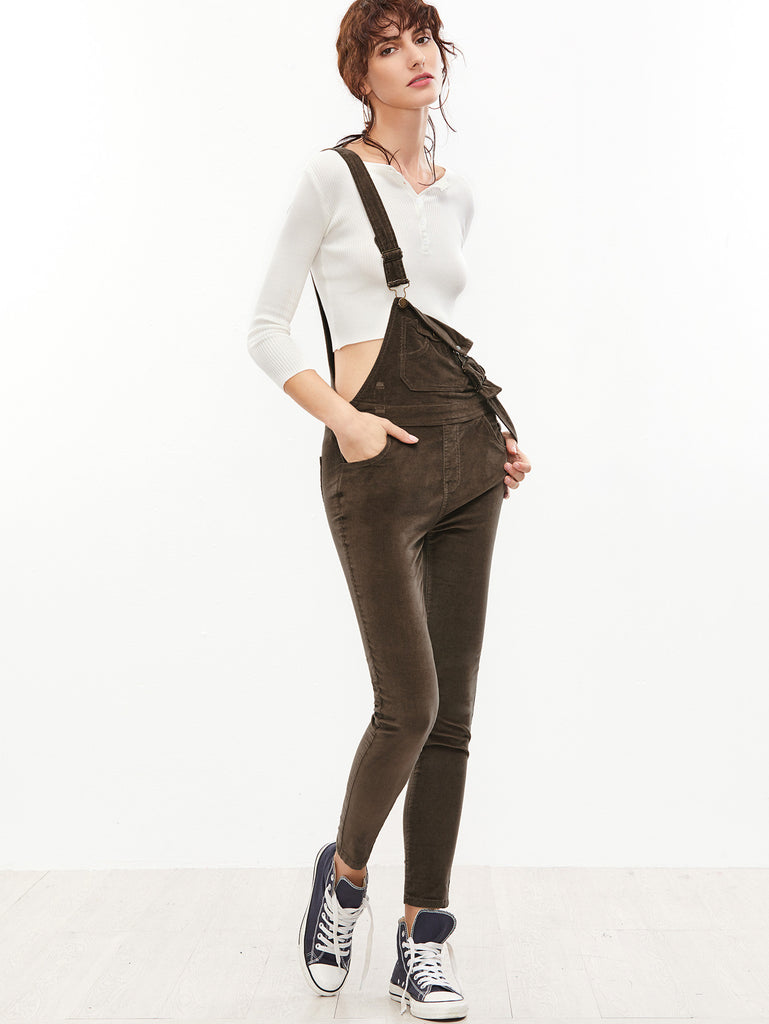 Brown Skinny Overall Jeans RZX
