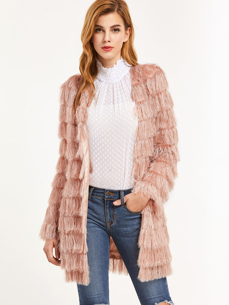 Pink Layered Faux Fur Open Front Coat RZX