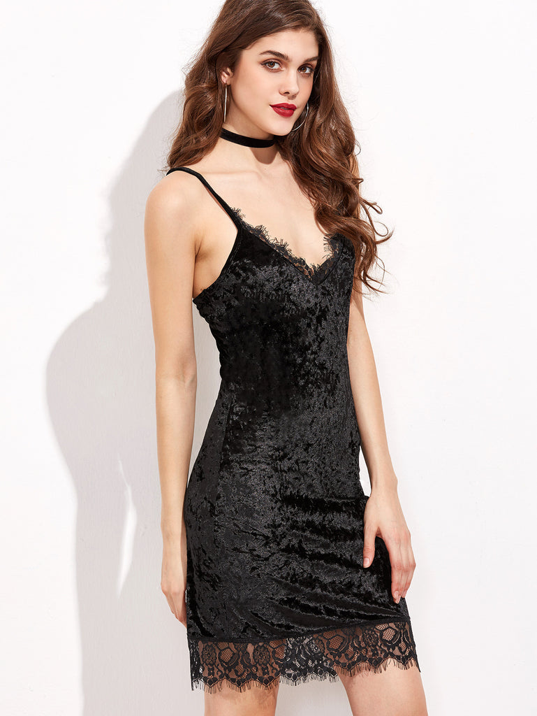 RZX Black Lace Trim Velvet Cami Bodycon Dress