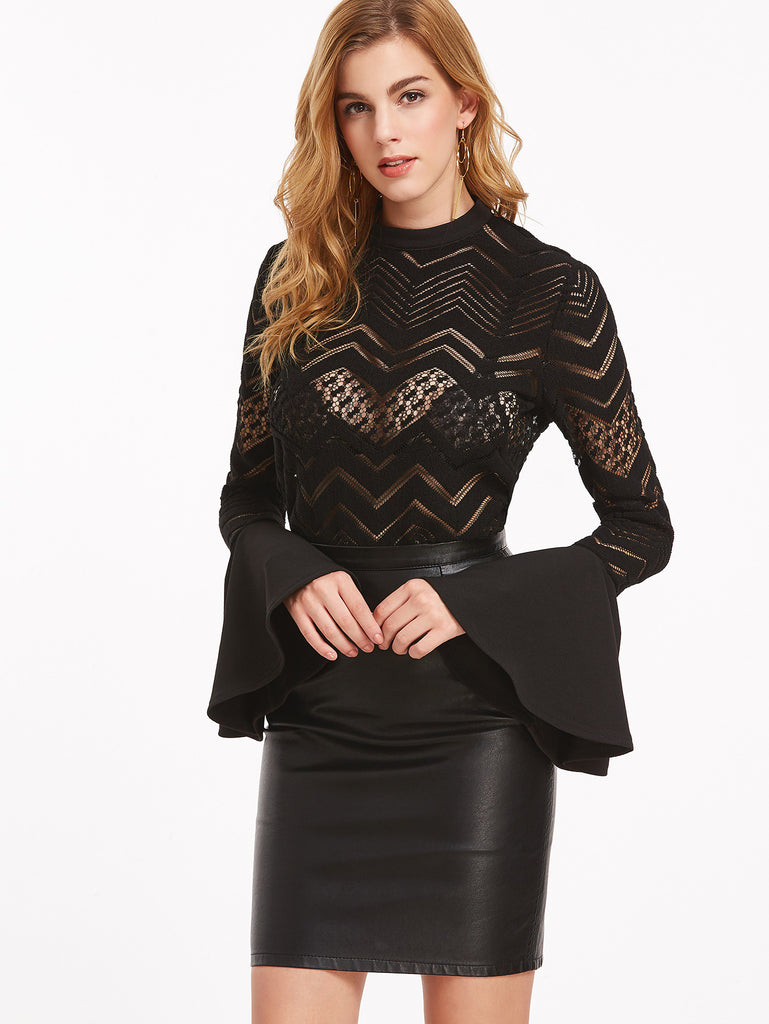 RZX Black Button Back Bell Sleeve Sheer Chevron Blouse