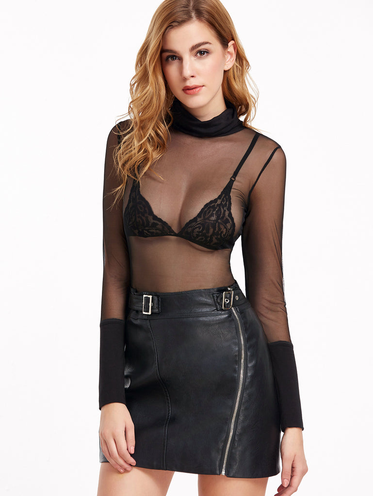 Black Cowl Neck Wide Cuff Sheer Mesh Top