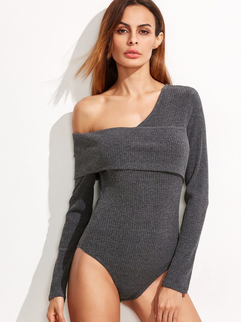 RZX Grey Ribbed Knit Asymmetric Fold Off The Shoulder Bodysuit