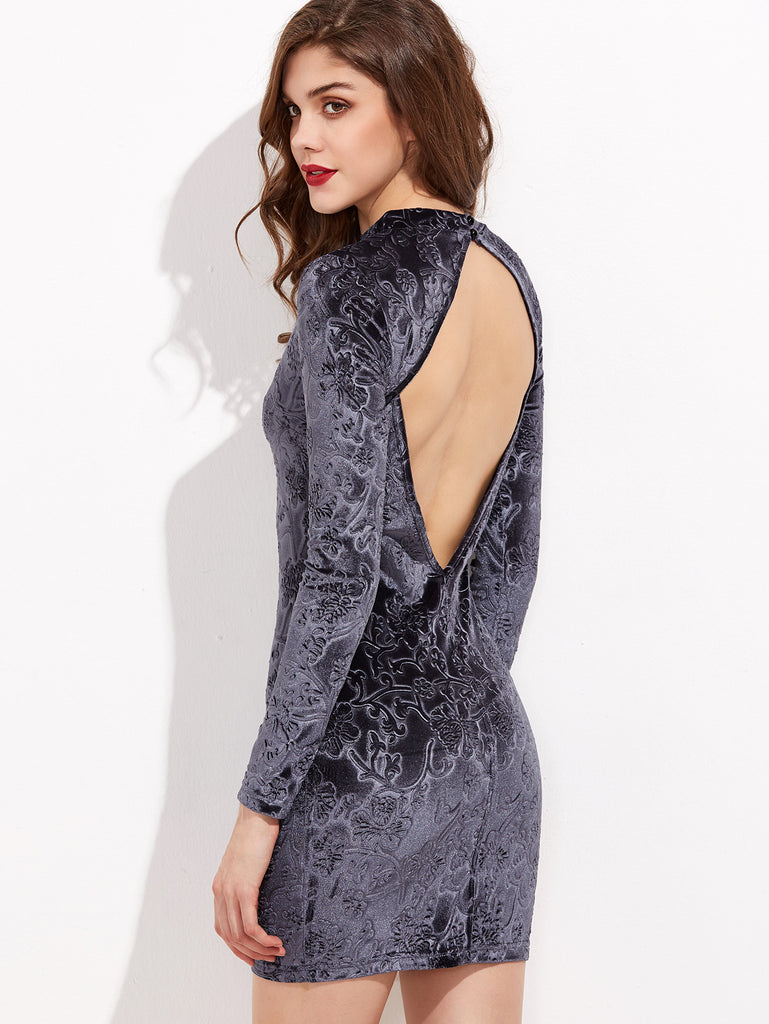 RZX Grey Flower Embossed Open Back Velvet Bodycon Dress
