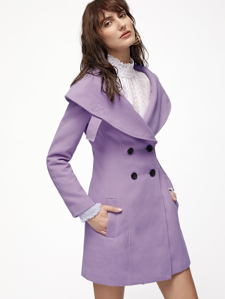 RZX Purple Wide Shawl Collar Double Breasted Princess Coat