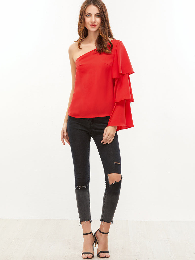 Red One Shoulder Layered Ruffle Sleeve Top