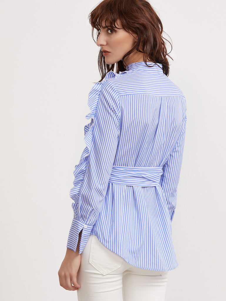 RZX Blue And White Striped Belted Ruffle Blouse
